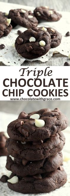 These thick and soft triple chocolate chip cookies have a chocolate cookie base filled with dark and white chocolate chips.