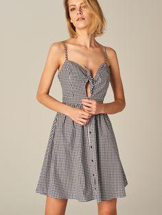 Sukienka w kratę gingham, Nowości, niebieski, MOHITO