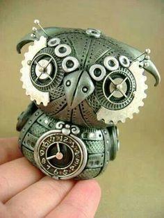 Industrial owl clock