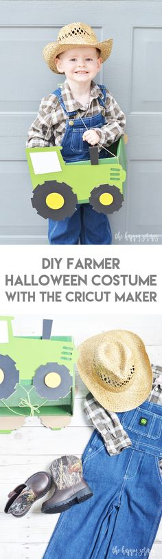 Create these DIY Farmer and Animal Halloween Costumes with the Cricut Maker along with this tutorial that I'm sharing! They are no-sew and fun to make! Farmer Halloween Costume, Farmer Costume, Animal Halloween Costumes, Halloween Kids, Halloween Crafts, Halloween Designs, Holiday Crafts, Easy Costumes, Homemade Costumes