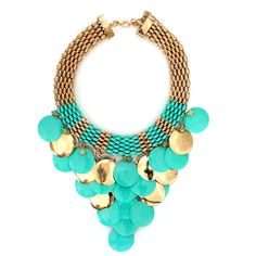 collections-by-h | NECKLACES  £14.00            Turquoise and gold circular droplets cascade down the neck line to create a unique necklace, simply Stunning.