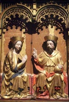 A detail from a medieval altarpiece in the Historiska museum, Stockholm, Sweden, depicts the Virgin Mary and God, the Son, crowned as king and queen of heaven; God, the Son holds an orb, symbol of global dominion, and makes a gesture of benediction.  (Photo: Clare Gibson/Seeing Symbols)