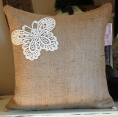 <3 this!  So Shabby! This is a pillow cover measures 16x16 inches.  This is the price for only the pillow cover.  There is an invisible zipper at the bottom of the pillow cover.  The pillow is made from burlap.  And the butterfly is lace. $22 @ http://www.etsy.com/listing/78290164/sooo-shabby?ref=sc_35&sref=from_your_favorite_listings