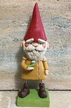 Garden Gnome with inch worm original sculpted art by Janell Berryman Pumpkinseeds originals by JanellBerryman on Etsy Tall Hat, Gnome Garden, Worms, Clay Art, Handmade Art, Gnomes, Decorative Bells, Folk Art, Sculpting