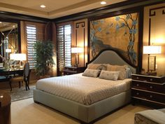 Fascinating Mid-Range Asian Style Bedroom with High-Gloss Brown Nightstand Table and Beige Sisal Rug also Ceiling Lighting