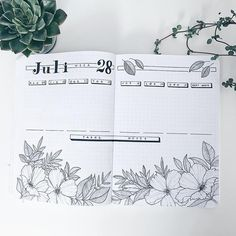 Bullet journal weekly layout, flower drawings, weekly tasks, weekly notes. | @simple_bujo