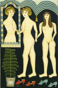 By Morris Hirshfield (1872–1946), 1941, Inseparable Friends, Oil on canvas. #SelfTaughtArtist