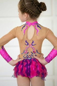Beautiful designer rhythmic gymnastics leotard handmade. Shown as an example of work we do. Enquire about your custom leotard today. The leotard for the rhythmic gymnastics competition made with over 2700 rhinestones very high quality. Design drawing on fabric acrylic paints. Handmade product thats why every item might have different color and shape.You can order any size, just let us know girl's measurement. Please let us known if you have any questions.
