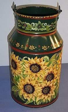 Painted Sunflower Milk Can