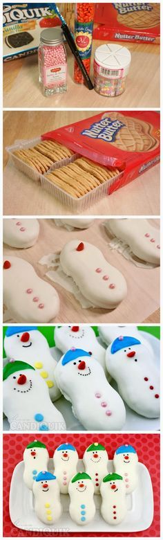 Snowmen Cookies - Nutter Butter cookies, white chocolate for dipping, sprinkles for decorations