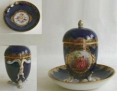 Meissen Forget-me-Not Chocolate Cup with Cover and saucer. Cobalt Blue Gold Gilt. Painted Still Life on saucer Trysting scene on Chocolate cup hand Painted