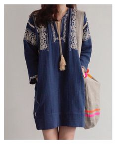 Embroidered Ink Blue Dress