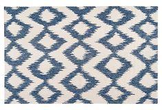 Kendall Flat-Weave Rug, Blue/White on OneKingsLane.com