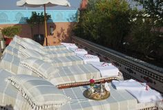 Loungers on roof terrace