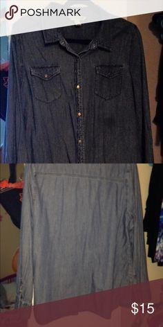Denim Long sleeve denim shirt. Small grease stain under left pocket Jones New York Tops Button Down Shirts