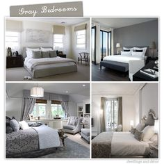 I love gray & white bedrooms.. Calming yet sophisticated... I like all these but the top right is fab