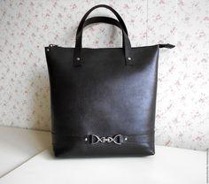 Купить Сумка-пакет без подклада, темно коричневая, кожаная - коричневый, однотонный, сумка-пакет