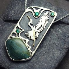 """22 Likes, 2 Comments - Emily Booker (@emilybookerjewelry) on Instagram: """"Custom heron pendant for a very dear friend. Hand cut jasper and emeralds in silver and gold.…"""""""