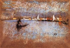 """""""The Guidecca - Winter: Grey and Blue,"""" James Abbott McNeill Whistler, chalk and pastel on paper, 8 x 11 Private collection. James Abbott Mcneill Whistler, Pastel Landscape, Landscape Art, French Paintings, Pastel Paintings, Art For Art Sake, Paintings For Sale, American Artists, Canvas Art Prints"""