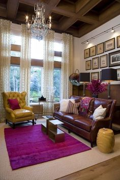 Bam! a bold bright color rug can work with your traditional leather sofa