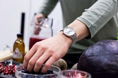 Be sure to use some fresh berries in your home made juice! Styled with our Silver Steel Watch and with the Silver Mesh Strap.
