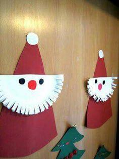 Santa: construction paper and paper plate Santa