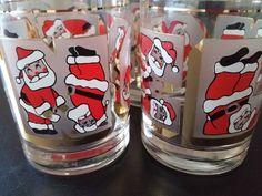 Set of 4 CULVER Santa JOY Gale Litvak Design Christmas Holiday Cocktail Old…