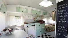 "Interior of vintage caravan ""i am norma"" cupcake store. - Interior of vintage caravan ""i am norma"" cupcake store. Vintage Caravan Interiors, Caravan Vintage, Caravan Decor, Vintage Caravans, Vintage Travel Trailers, Caravan Ideas, Vintage Airstream, Mini Caravan, Camper Caravan"