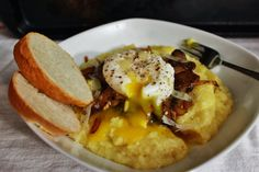 Polenta with Mushrooms, Onions, and Poached Egg