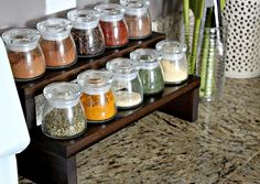 DIY Dark Wood Spice Rack...get ceramic containers and came sharpie on them for labels