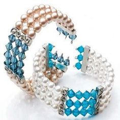 Swarovski crystal and pearl Memory Wire multistrand cuff bracelet for wedding bridal brides, from Bridal Bling: Free Patterns and Projects for Beautiful Handmade Wedding Jewelry - Jewelry Making Daily