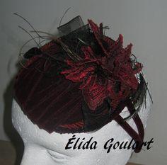 Fascinator de veludo e renda Élida Goulart. Contato:(031) 99191.8404