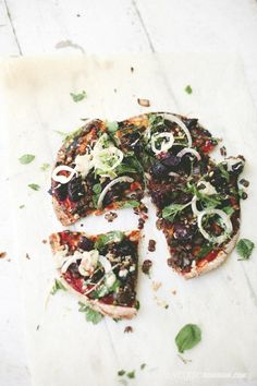 moroccan lentil pizza with pickled baby beets, fennel, tahini and mint