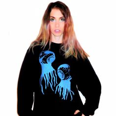 Black EYEBALL CREATURE Unisex Crew Neck Sweatshirt by BONESCOUTURE