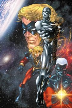 Captain Marvel and Silver Surfer Marvel Dc Comics, Dc Comics Art, Marvel Art, Marvel Heroes, Comic Book Heroes, Comic Books Art, Comic Art, Marvel Comic Character, Marvel Characters