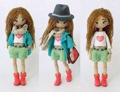 Muñeca con sombrero amigurumi