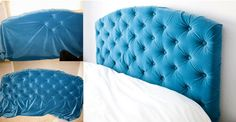 DIY -Turquoise Tufted Headboard - DIY  RoomFashion DC. Instead of Plywood, I will use a Pegboard - Holes are already measured & drilled! Home Crafts, Home Projects, Diy Home Decor, Diy Crafts, Pallet Projects, Home Bedroom, Bedroom Decor, Bedroom Ideas, Bedrooms