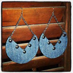 Denim Earrings Crescent Stud Jean Earrings by maidendenim on Etsy, $16.00