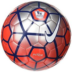 Nike Pitch Premier League Soccer Ball, Red/Silver/White, Size The Nike Pitch Soccer Ball is made with colorful graphics that stand out on the field for easier ball tracking. A machine-stitched TPU casing delivers great touch and durability during play. Best Football Players, Football Kits, Football Soccer, Nike Soccer Ball, Premier League Soccer, Live In Style, Pitch, Amazon, Objects