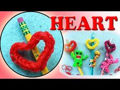 Rainbow Loom Band Heart Pencil Topper Charm | DIY Valentine's Gifts - http://rainbowloomsale.com/rainbow-loom-band-heart-pencil-topper-charm-diy-valentines-gifts/