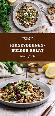 Gesunder & einfacher Kidneybohnen-Bulgur-Salat The Effective Pictures We Offer You About tuna Salad A quality Healthy Salad Recipes, Vegetarian Recipes, Cooking Recipes, Feta, Frijoles, Kidney Beans, Easy Dinner Recipes, Veggies, Food And Drink