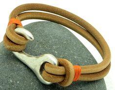 FREE SHIPPING .Men's leather bracelet .  Multi by eliziatelye, $25.00