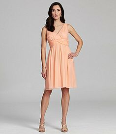 ... and they have it at Dillards (in the amethyst color). Donna Morgan Bridesmaid VNeck ALine Dress #Dillards $178