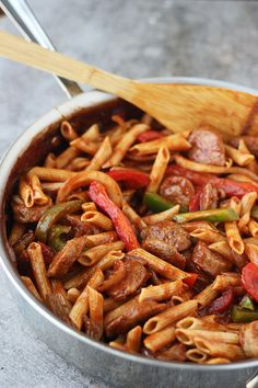 Skillet Italian Sausage and Peppers with Whole-Wheat Penne   by Nicole @ Cooking for Keeps via Oh, Sweet Basil