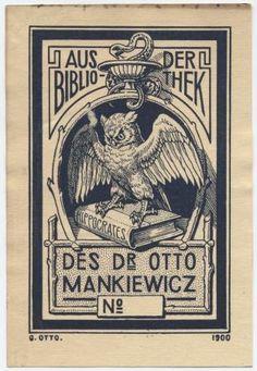 """""""Aus der Bibliothek des Dr Otto Mankiewicz No"""""""