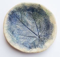 Small hand built ceramic plate with leaf impression by yaelastudio, $20.00