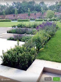 Amy Perkins Garden Design – Project: Country Estate – Hampshire Limestone paving… - All For Garden Contemporary Garden Design, Modern Landscape Design, Garden Landscape Design, Modern Landscaping, Backyard Landscaping, Landscape Architecture, Architecture Design, Limestone Paving, Sloped Garden