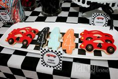 Race Car Themed Birthday Party - Spaceships and Laser Beams Car Themed Parties, Cars Birthday Parties, Girl Parties, Race Car Birthday, Boy Birthday, Birthday Ideas, Kids Party Themes, Party Ideas, Theme Ideas