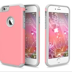 Shockproof Rubber Hard Case iPhone Shockproof Rugged Rubber Hard Case Cover For iPhone.  Protect your iPhone without being bulky.   Color-pink and grey Accessories Phone Cases