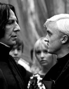 Severus Snape & Draco Malfoy - These two share more than a mentor-mentee relationship. With how protective and guiding Snape is with Draco, it's almost like he cares for his prized student like a proud father would his son. Harry James Potter, Harry Potter World, Fantasia Harry Potter, Mundo Harry Potter, Harry Potter Universal, Draco Malfoy, Severus Snape, Severus Rogue, Hermione Granger